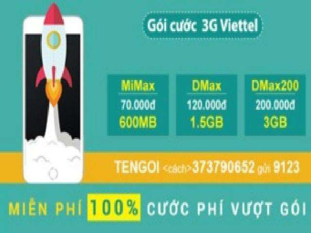 Giới thiệu các gói cước 3G Viettel không giới hạn giá rẻ